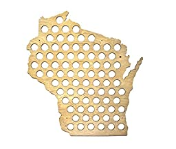 All 50 States Beer Cap Map - Wisconsin Beer Cap Map WI - Glossy Wood - Skyline Workshop