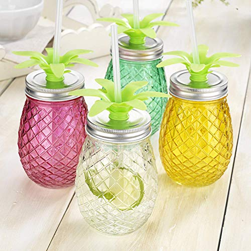Set of 4 Assorted Colors Pineapple Shape Glass Sipper with Metal Lids & Plastic Straws (17.5 Oz) by HE (Image #2)