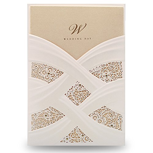 Doris Home Vertical Laser Cut White Hollow Flora Wedding Invitation with envelopes,100 pcs CW060