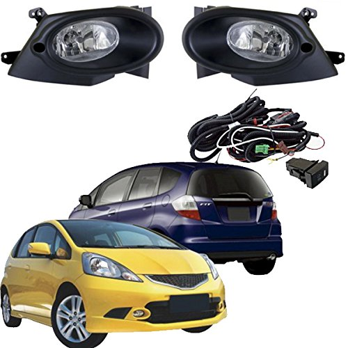 Bumper Fog Lights Driving Lamps Complete Kit For 2008~2010 Sport Type Honda Jazz/Fit Fog Light Assembly /1Set w/H11 Bulbs + Switch HUAHEE ()