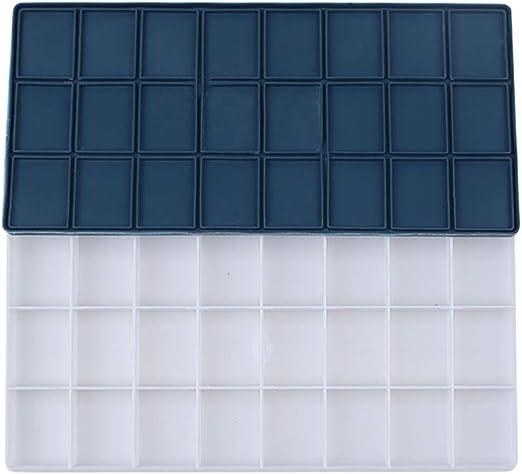 EXCEART Caja de Paleta de Acuarela Caja de Lata 24 Rejillas Caja de Pintura Hermética Anti
