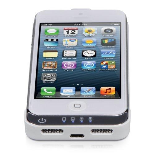 P-Franken iPhone 5 Battery Case -Custodia rigida con batteria integrata 2200mAh - per Apple iPhone 5 - colore Bianco