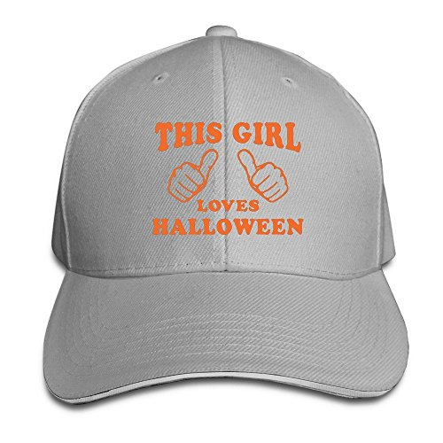 Runy Custom This Girl Loves Halloween Adjustable Sanwich Hunting Peak Hat & Cap Ash