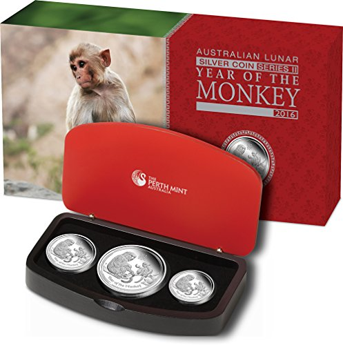 2016 AU lunar series II MONKEY Lunar Year Series Three 3 Coins Set Silver Proof Australia 2016 Dollar Perfect Uncirculated