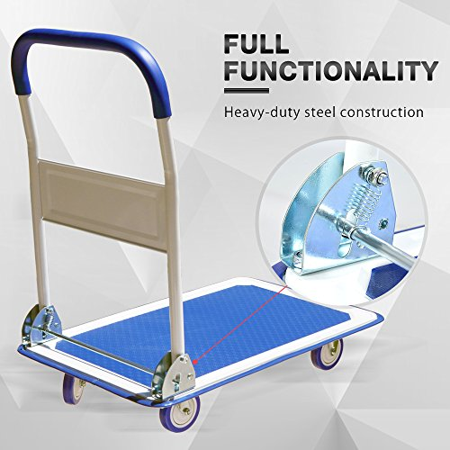 Push Cart Dolly by Wellmax | Functional Moving Platform + Hand Truck | Foldable for Easy Storage + 360-degree Swivel Wheels + 330lb Weight Capacity | Blue Colour by Wellmax (Image #6)