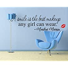 "ufengke® ""A Smile Is The Best Makeup Any Girl Can Wear""Marilyn Monroe Quotes and Sayings Wall Decals, Living Room Bedroom Removable Wall Stickers Murals"