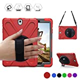 BRAECN Galaxy Tab S2 8.0 Case,[Heavy Duty]Full-body Rugged Protective Case with a 360 Degree Swivel KickStand/a Hand Strap/a Shoulder Strap for Samsung Tab S2 8.0 inch(SM-T710 T715 T713) (Red)