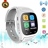 Bluetooth Smart Watch Touch Screen Men Women Smartwatch LED Light Display Wrist Watch with Dial Call Answer Music Player for Samsung S8 Plus S7 Edge S6 S5 Note 8 5 4 3 J7 J5 LG Huawei Motorola (White)