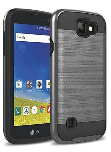 LG K4 Case, LG Optimus Zone 3 Case, LG Spree Case, LG Rebel LTE Case, kaesar Brushed Metal Texture Hybrid Dual Layer Slim Cover for LG K4 / LG Optimus Zone 3 / LG Spree / LG Rebel - Black (Metal Rebels)