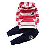 Shiningup Baby Tracksuit Boys Clothing Set Outfit Long Sleeve Hooded Striped T-Shirt and Pants For 0-4 Years Little Kids by