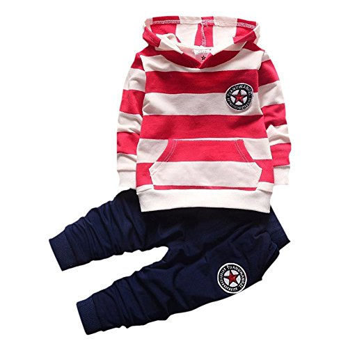 Shiningup Baby Tracksuit Boys Clothing Set Outfit Long Sleeve Hooded Striped T-Shirt and Pants Little Kids