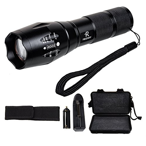 Reizarf Cree XML T6 Tactical Flashlight With Zoomable Focus And 5 Modes. Walk Your Pets at Night Safely, Water Resistant , with Rechargeable 18650 Lithium Ion Battery and Charger (Laser Ax)