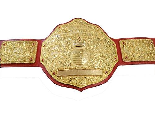 Fandu Belts Adult Replica Big Gold Wrestling Championship Belt Title 8mm Thick 6.8lbs Full Gold Red Brown Strap by Fandu Belts