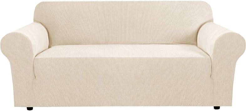 Image ofBellaHills Fundas de sofá elásticas Fundas de sofá de 4 plazas para Sala de Estar Fundas de sofá Fundas con Fondo elástico, Tela Jacquard Gruesa Suave Lavable (sofá de 4 plazas, Natural)