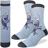 Good Luck Sock Men's Samurai Sushi Fish Crew Socks, Shoe size 7-12, Blue