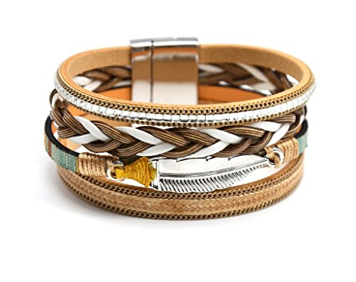 BC1339F - Bracelet Manchette Multi-Rangs Cordon Tressé Pierres avec Charm Plume Métal Beige/Argenté - Mode Fantaisie