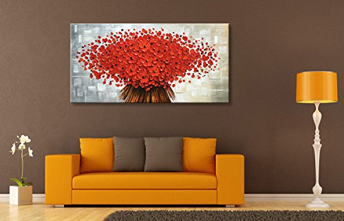 Winpeak Art Hand Painted Abstract Canvas Wall Art Modern Textured Flower  Oil Painting Contemporary Artwork Floral Hangings Stretched and Framed  Ready