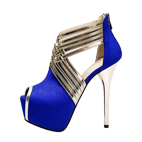 Cross Blue Stiletto Pumps Strap Wedding Peep Party Sandals High Sky up Women's Heels Zip Platform Toe fereshte twF4Tqq