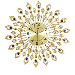 Magshion 3D Large 27.2 Inch Peacock Leather Design Iron Wall Clock W/ Wall Hooks Gold