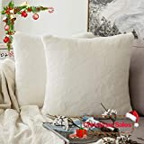 MIULEE Pack of 2, Very Soft Christmas Decorative Luxury Warm Series Faux Rabbit Fur Throw Pillow Case Cushion Cover for Sofa Bedroom Car 18 x 18 Inch 45 x 45 cm