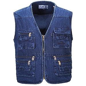Men's Casual Denim Blue Jean Cargo Vest Short Work Vest Multi Pockets