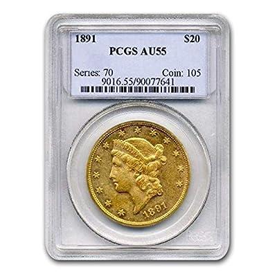 1891 $20 Liberty Gold Double Eagle AU-55 PCGS G$20 AU-55 PCGS