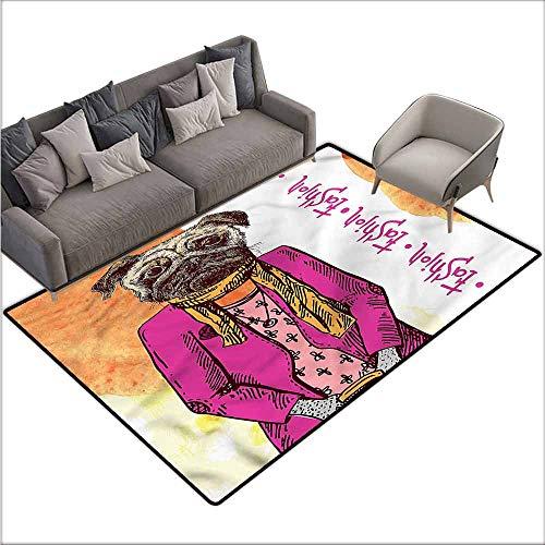Floor mats for Kids Pug,Fashion Icon Scarf Jacket 80