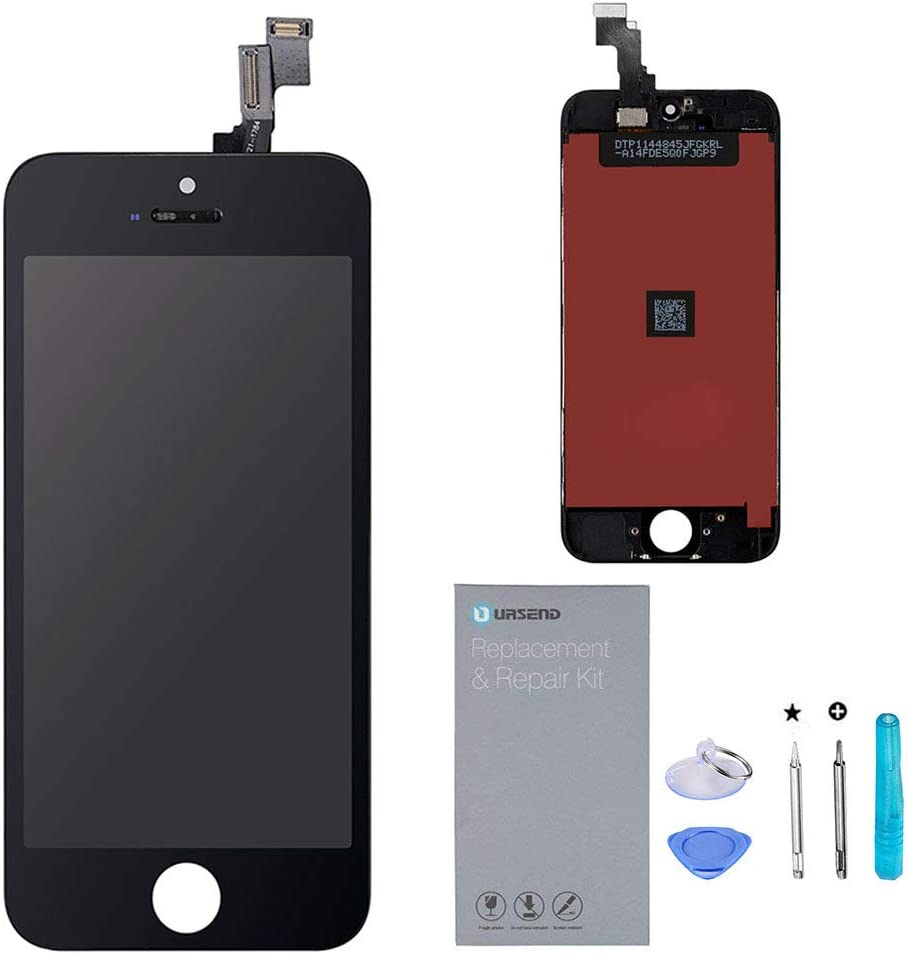 URSEND for iPhone 5S/SE Screen Replacement LCD Digitizer Touch Display Assembly Black with Free Repair Tools