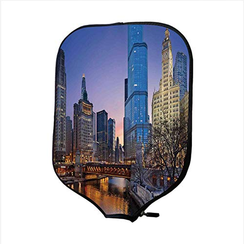 iPrint Neoprene Pickleball Paddle Racket Cover Case,Landscape,USA Chicago Cityscape with Rivers Bridge and Skyscrapers Cosmopolitan City Image,Multicolor,Fit for Most Rackets - Protect Your Paddle ()