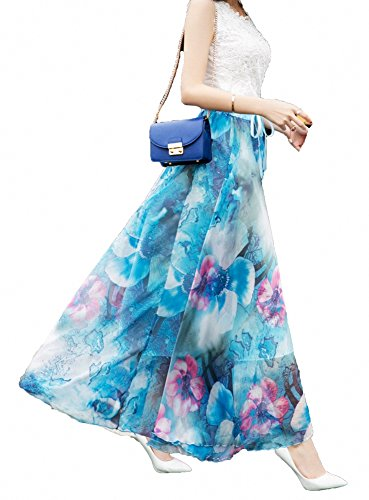 B Plage Cheville Blend Pleine Long Design Longueur Femmes Chiffon Jupe Maxi Afibi Jupe wEzI7qp