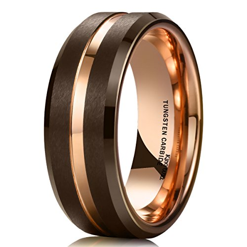 King Will DUO 8mm Brown Brushed Tungsten Carbide Wedding Band Ring Thin Rose Gold Groove Comfort Fit 7.5