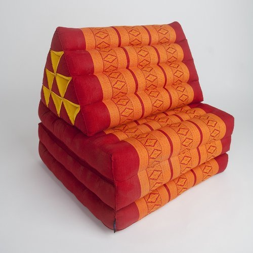 Foldout Triangle Thai Cushion, 67x21x3 inches, Kapok Fabric, Orange, Premium Double Stitched by Thai OTOP by Kaikeng