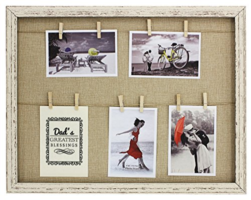 Dad's Greatest Blessings Clothesline Picture Frame Faux Reclaimed Wood 5-Display Photo Frame