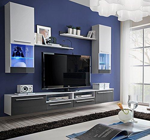 Ensemble 2 4m Suspendu Tv Gris Laque Et Blanc Mat Avec
