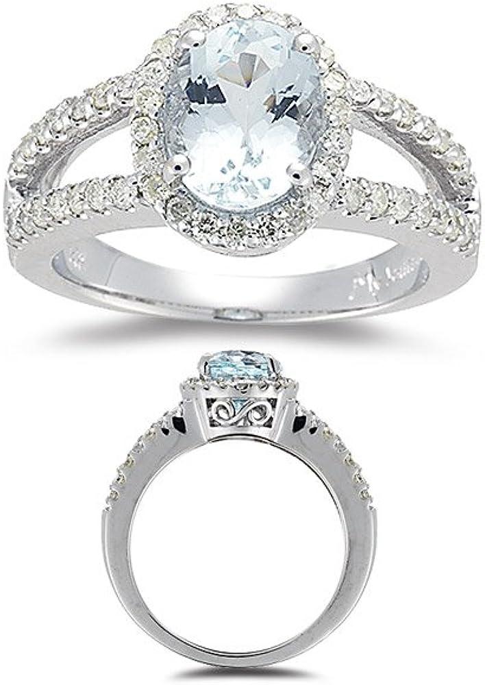14k White Gold Oval Aquamarine And Diamond Wave Earrings