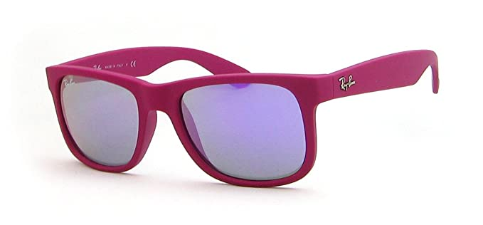 416dfdf617b Ray Ban Rb4165 Justin Rubber Fuchsia Frame Grey Mirror Violet Lens Plastic  Sunglasses