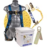 Palmer Safety Fall Protection Roofing Bucket Kit I Full-Body Harness, 50' Vertical Rope & Anchor Set I Construction Fall Arrest Kit for Roofers & Construction Workers I OSHA & ANSI Compliant Equipment