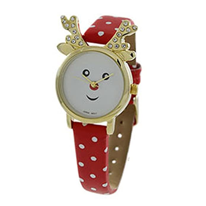 Amazon.com: Rosemarie Collections Womens Christmas Holiday Red Nose Reindeer Wrist Watch (Gold: Jewelry