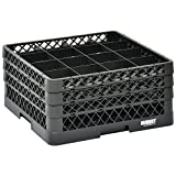 Vollrath Traex Black Plastic 16 Compartment Dishwashing Rack With Three Open Extenders - 19 3/4 L x 19 3/4 W x 8 3/4 H