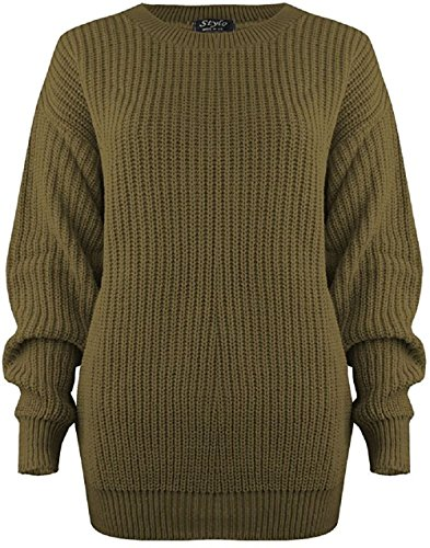 Mymixtrendz® Women Ladies Winter Cable Knit Fishernet Loose Baggy Crew Neck Plus Size Jumper Top