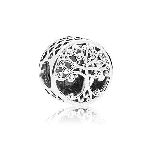LafeeJewels Charm Albero della Famiglia,per bracciali Pandora,Oro 18 ct  Zirconia Cubic Argento
