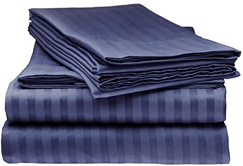 ITALIAN Prestige Collection 4PC QUEEN Striped Sheet Set, NAVY