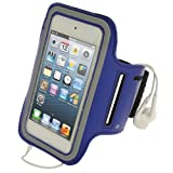 iGadgitz Blue Reflective Anti-Slip Neoprene Sports Gym Jogging Armband for Apple iPod Touch 6th Generation (July 2015 onwards) & 5th Generation (2012-2015)