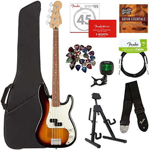 (Fender Player Precision Bass, Pau Ferro - 3-Color Sunburst Bundle with Gig Bag, Stand, Cable, Tuner, Strap, Strings, Picks, Fender Play Online Lessons, and Austin Bazaar Instructional DVD)