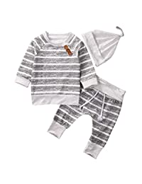 Newborn Baby Boy Girls 3pcs Clothes set Striped T Shirt Pants Hat Outfit