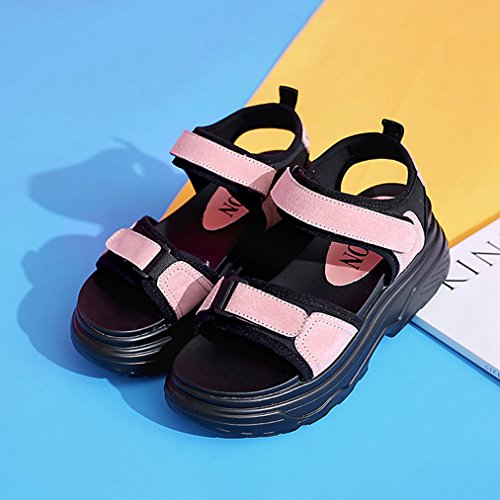 T Ladies Platform Slip for Comfy JULY Slippers on Wedge Dress Womens Leather Womens Sandals Pink Breathable Walking Fashion gXXrE