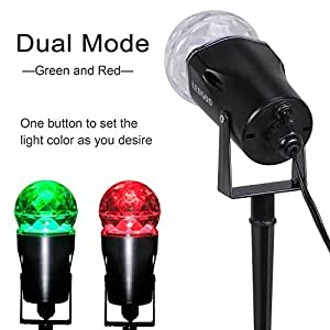 Verkb Christmas Halloween LED Projector Light, Rotating Flame Laser Light Water-proof Landscape Spotlight for Parties Holidays Stage Shows Indoor and Outdoor Garden Decoration ( RED&GREEN)