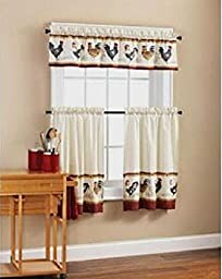Roosters Kitchen Window Curtain Set 3 Pc
