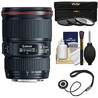 Canon EF 16-35mm f/4L IS USM Zoom Lens with UV/CPL/ND8 Filters Kit for EOS 6D, 70D, 5D Mark II III, Rebel T3, T3i, T4i, T5, T5i, SL1 DSLR Cameras