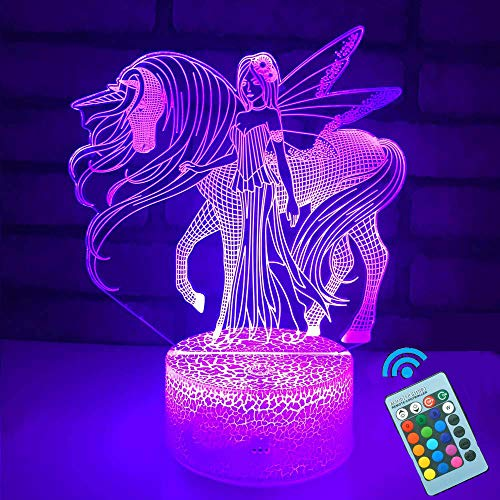 Unicorn Night Light 3D Optical Illusion Bedside Lamps with Remote 16 Colors Changing Best Gift Idea for Kids Room Décor or Birthday Gifts for Girls Women